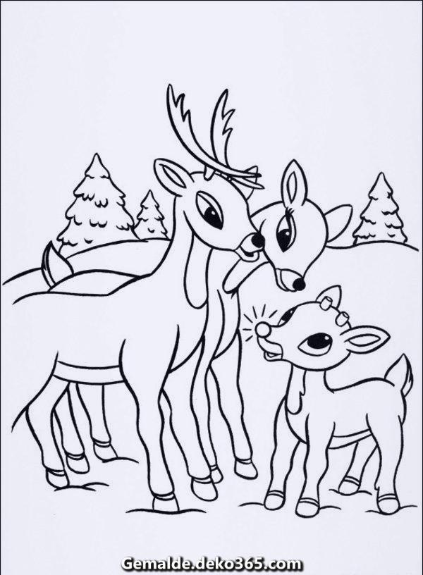 weihnachtenrentiermalvorlagenskizze2 600 × 816